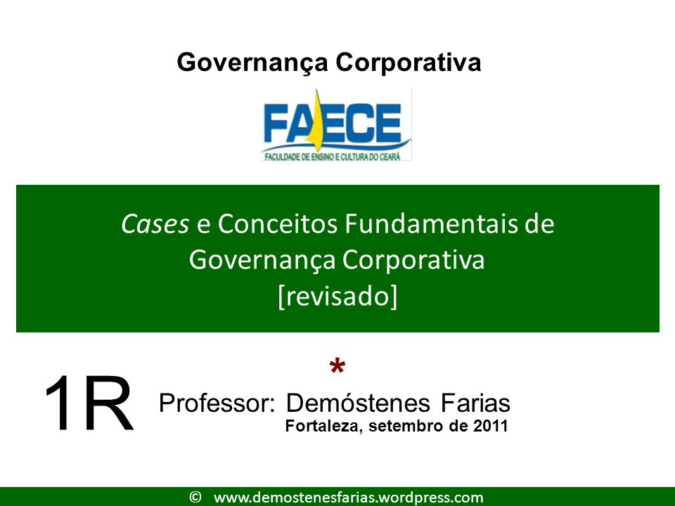 Cases e Conceitos Fundamentais de Governança Corporativa [revisado]